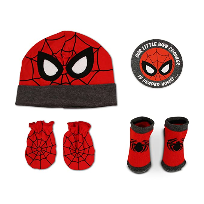 04112d6ad083d5 Amazon.com: Marvel Baby Boys Avengers Spiderman Hat with Mitts and ...