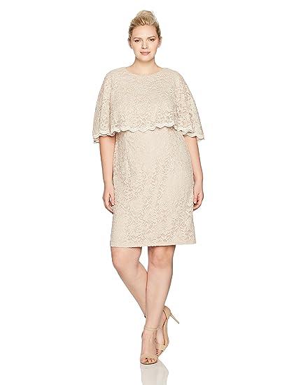 a0b58b540b23 Jessica Howard Women's Plus Size Scallop Capelet Dress at Amazon Women's  Clothing store: