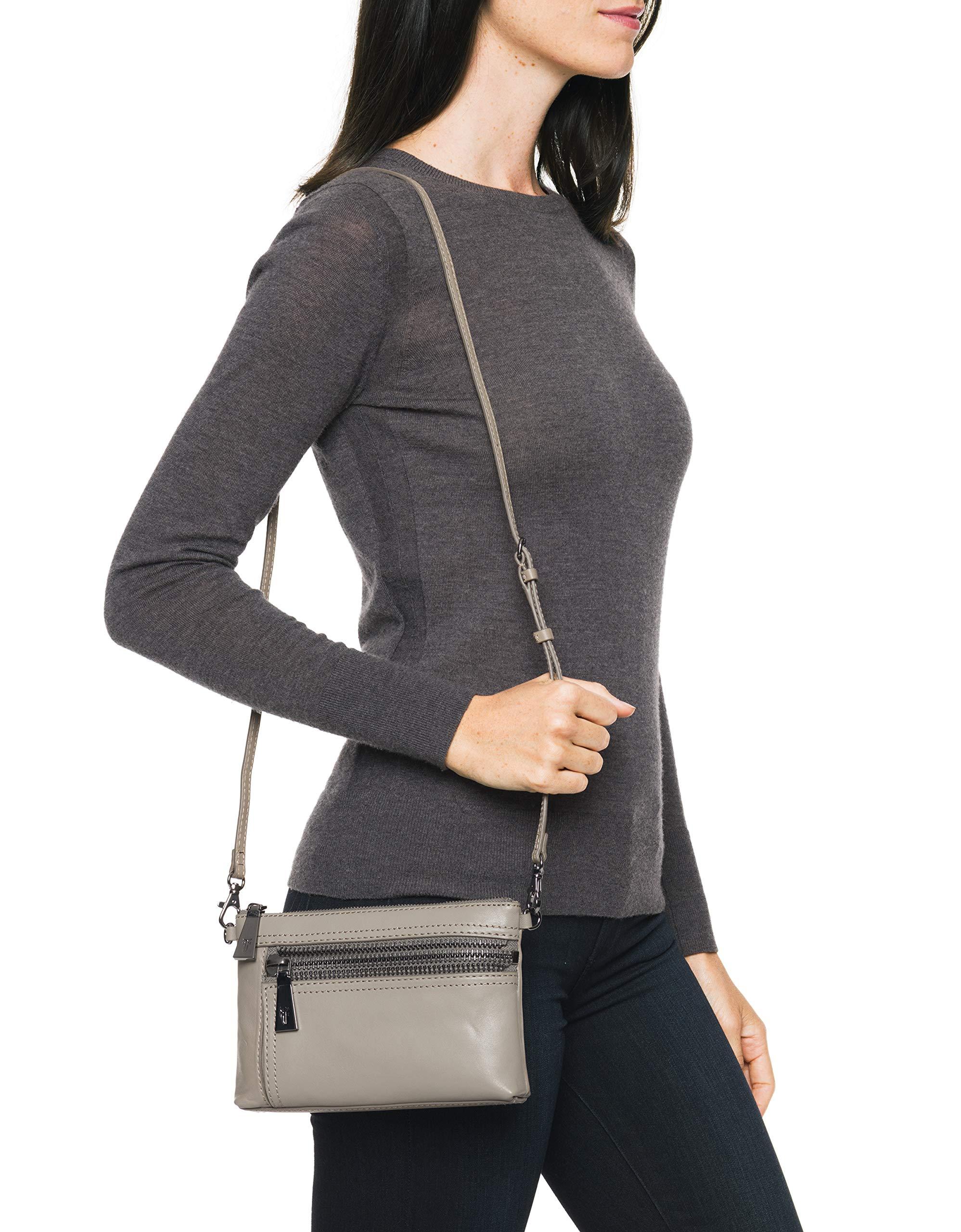 FRYE Lena Zip Leather Crossbody Wristlet Bag, grey by FRYE (Image #6)