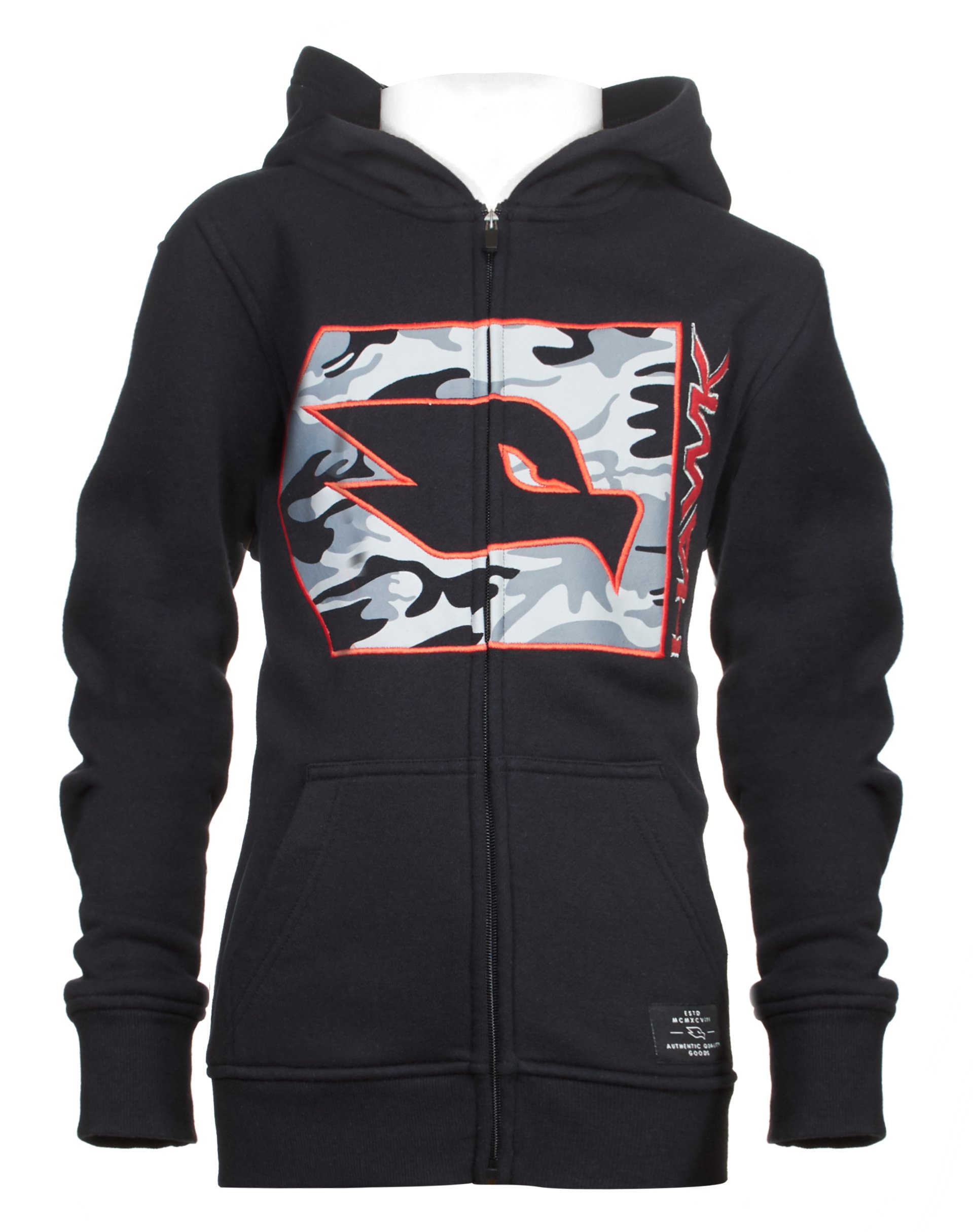 Tony Hawk Kids Boys Fleece Front Zip Hoodie with Camouflage and Embroidery Black Size 14/16