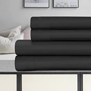 SUPERIOR Cotton Bed Sheet Set Solid 1500 Thread Count Egyptian, Queen, Black
