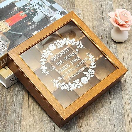 Caja de madera para especias y té, 9 compartimentos, para guardar joyas: Amazon.es: Hogar