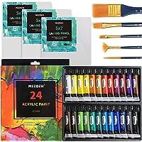 MEEDEN 32-Piece Acrylic Painting Set - 24PCS Premium Acrylic Paint Set, 5PCS Painting Brushes and 3PCS 5 x 7 inches…