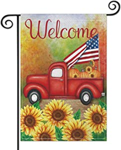 Sunflowers Welcome Garden Flag, Premium Burlap Red Truck USA Flag Outdoor Yard Lawn Flag, Durable Vertical Double Sided Perfect for Patriotic Decor Porch Patio Farmhouse Decorative, 12.5 x 18 Inch