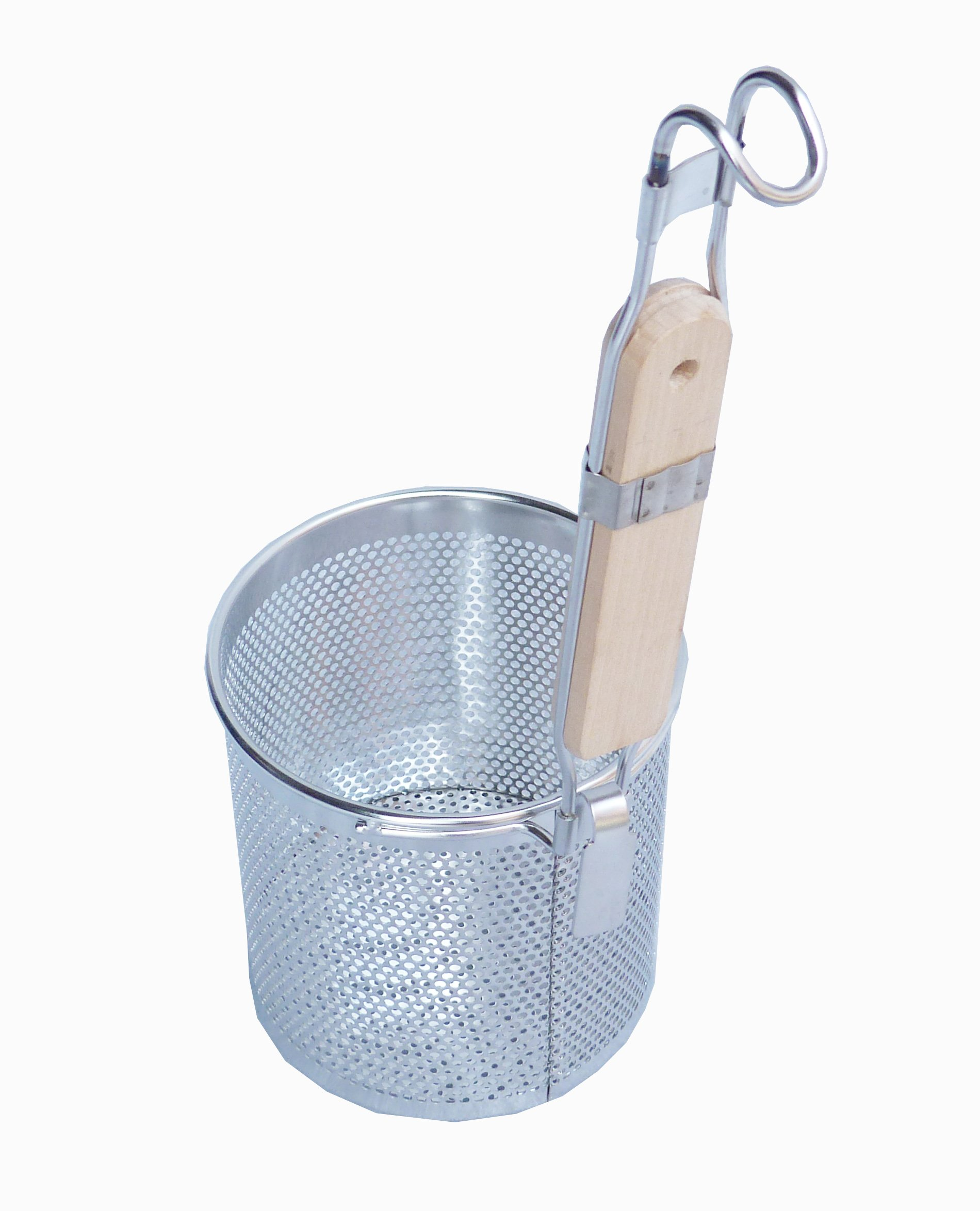 FixtureDisplays Set of 2 Pcs 5'' x 5 1/4'' Stainless Steel Pasta Strainer/Blanching Basket with Wood Handle 18017 18017!