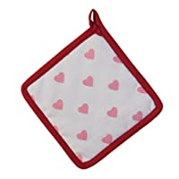 Homescapes - Pure Cotton Pot Holder - Hearts - Red Pink - 20 x 20 cm - Fully Coordinated Washable Kitchen Linen