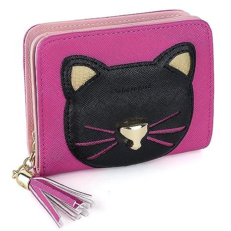 UTO Mujer PU Cuero Billetera Gatito Amable Tarjeta Portable Monedero con Cremallera Tass Bolsillo Chicas Azul Claro