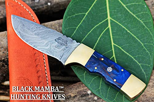 Black Mamba Knives BMK-115-B Galaxy Knife 9 Long 4 Blade 8 Ounce Hunting Fixed Blade Bowie Skinner Survival Handmade Damascus Knife Black Mamba Hand Made World Class Knives