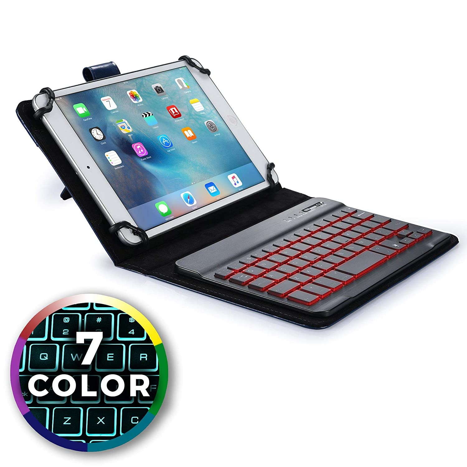 7980c1cb426 Cooper Backlight Executive Keyboard case for 9'', 10'', 10.1'' inch Tablets  | 2-in-1 Bluetooth Wireless Backlit Keyboard & Leather Folio Cover | 7  Color LED ...