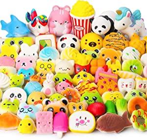 WATINC Random 70Pcs Squeeze Toys, Birthday Gifts for Kids Party Favors, Slow Rising Simulation Bread Squeeze Stress Relief Toys Goodie Bags Egg Filler, Keychain Phone Straps, 1 Jumbo Squeeze Include