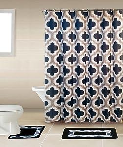 Home Dynamix 18 Pcs Set Cambridge Bath Boutique Bath Sets (Leopard-Brown)