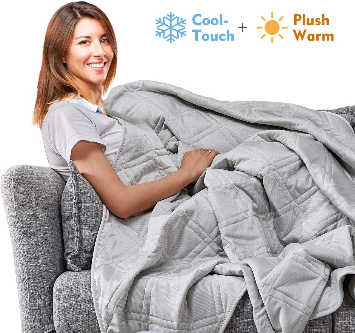 APSMILE Reversible Throw Blanket for Couch, Sofa, Bed - Summer Cool Touch and Plush Warm Quilted 2 in 1 (Queen, Grey/Gray)