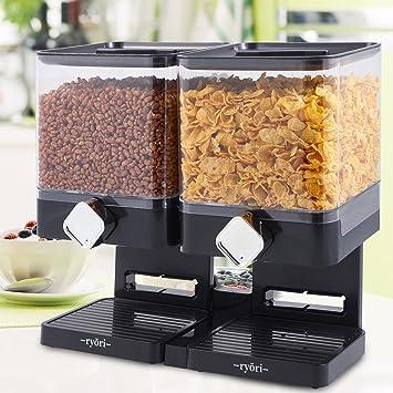 Ryori Kitchen - Dispensador de cereales cuadrado de plástico transparente y seco, mantiene los alimentos