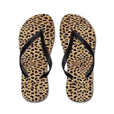 82637d33f469 Lplpol Cheetah Print Sandals Flip Flops for Adults L with Black Flip Flops  Belt