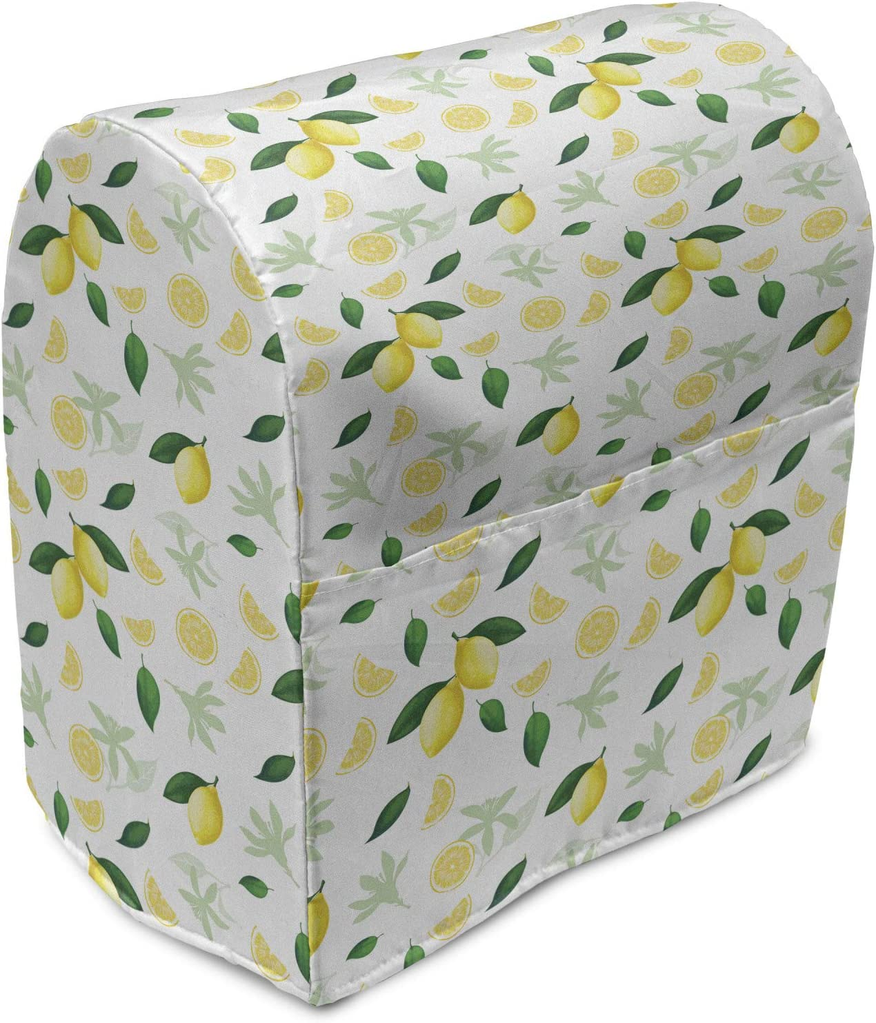 Ambesonne Lemon Stand Mixer Cover, Summer Tree Branches Ripe Slices Freshness Juicy Delicious Lemonade Motif, Kitchen Appliance Organizer Bag Cover with Pockets, 6-8 Quarts, Yellow Green