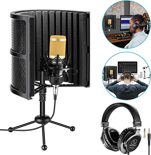 Neewer Escudo Aislamiento Micrófono Mesa con Espuma Absorbente ...