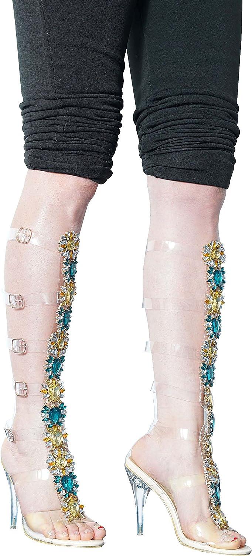 WSKEISP Womens Summer Boot Knee High Sandal Rhinestone Gladiator Sandals Transparent Strappy Stiletto High Heels