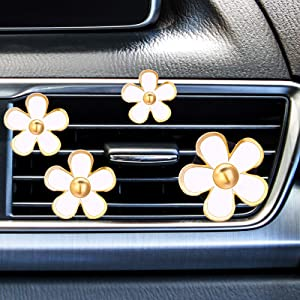 8 Pieces Daisy Flowers Air Vent Clips Car Freshener Clip Air Vent Decorative Clip for Car Air Vent Decorations Accessories(White)
