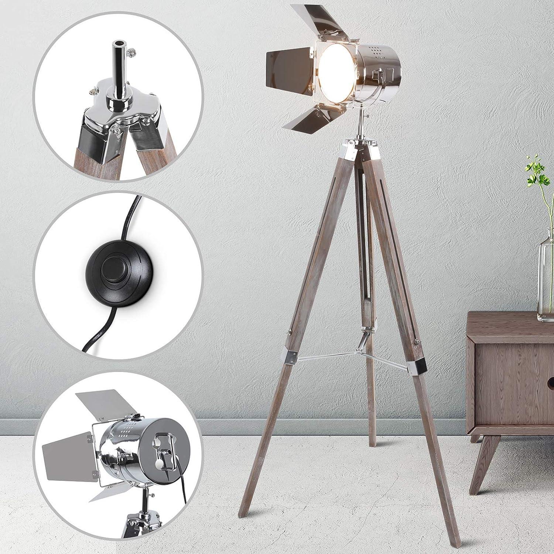 Stehlampe mit Stativ aus Holz   Höhenverstellbar max. 148 cm, Vintage, Retro, E14, A++   Tripod lampe, Dreifuss Stehleuchte, Standleuchte, Studiolampe   für Wohnzimmer, Schlafzimmer, Büro