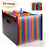 Expanding File Folder - 24 Pockets Multicolour Accordion Document Organizer, A4 High Capacity File Organizer with Colored Index Labels Work on Letter Size and A4 Size
