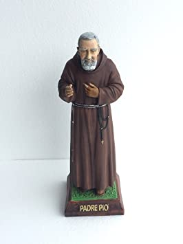 Estatua de Padre Pio, Estatua, Sacre, Staue de mármol resina, tamaño H 40 cm.: Amazon.es: Jardín
