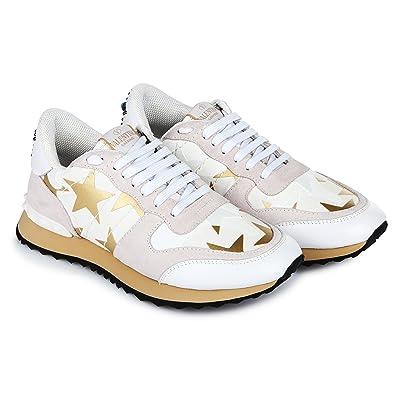 e9e6a8b31e4aa VALENTINO Garavani Rockrunner Starstudded White Leather EU 36 37 42 43/6 7  11 12