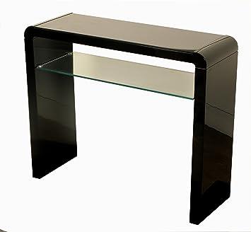 Charmant Atlanta Noir Table Console Avec étagère Pour Couloir   Noir Brillant ...
