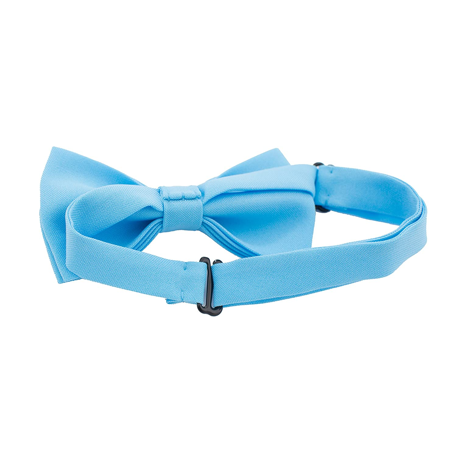 Large, Sky Blue by Bow Tie House Classic Pre-Tied Bow Tie Formal Solid Tuxedo