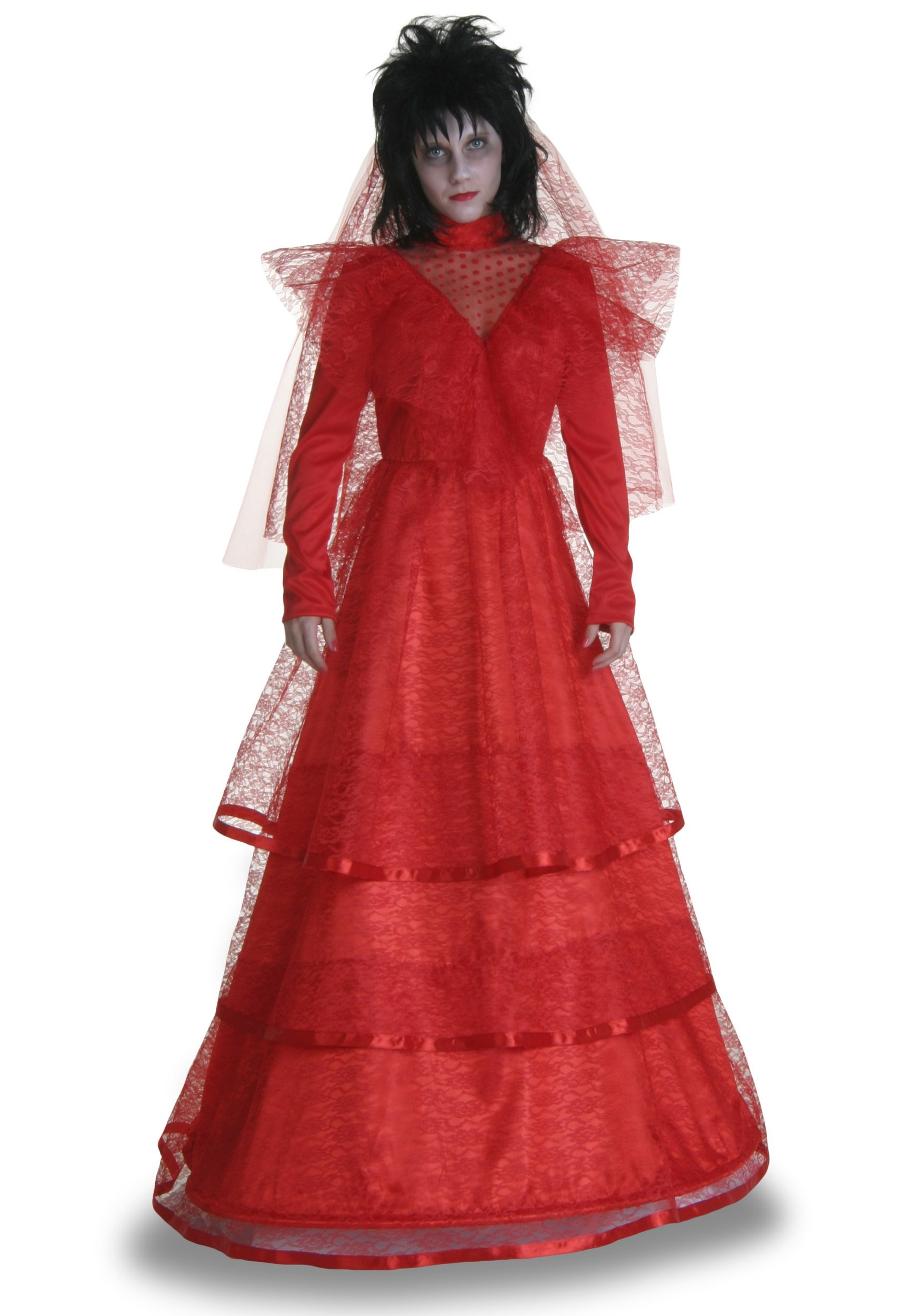 Red Gothic Wedding Dress Costume - L