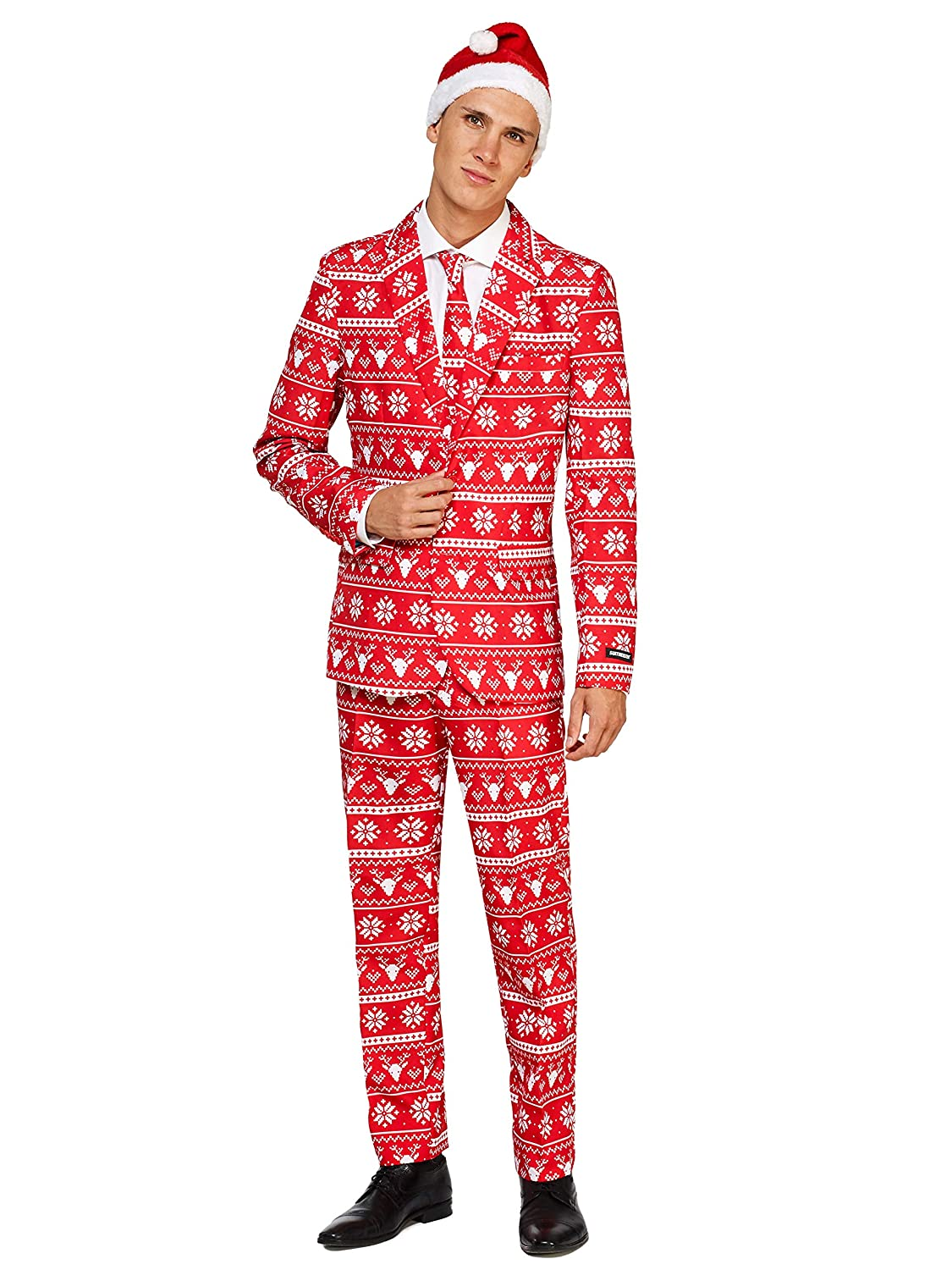 f6c29374732d56 Amazon.com: Suitmeister Christmas Suits for Men in Different Prints – Ugly  Xmas Sweater Costumes Include Jacket Pants & Tie + Free Hat: Clothing