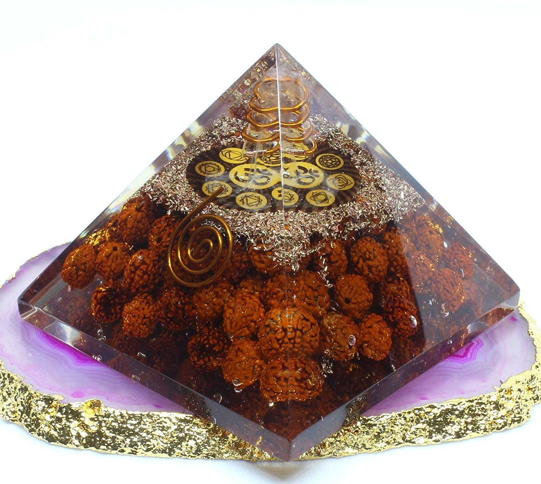 Orgone Pyramid – Panchmukhi Rudraksha Beads Crystal Pyramid for Emf Protection Energy Generator – Healing Crystal Orgonite Pyramids for Chakra Meditation – Meditation Healing Pyramid