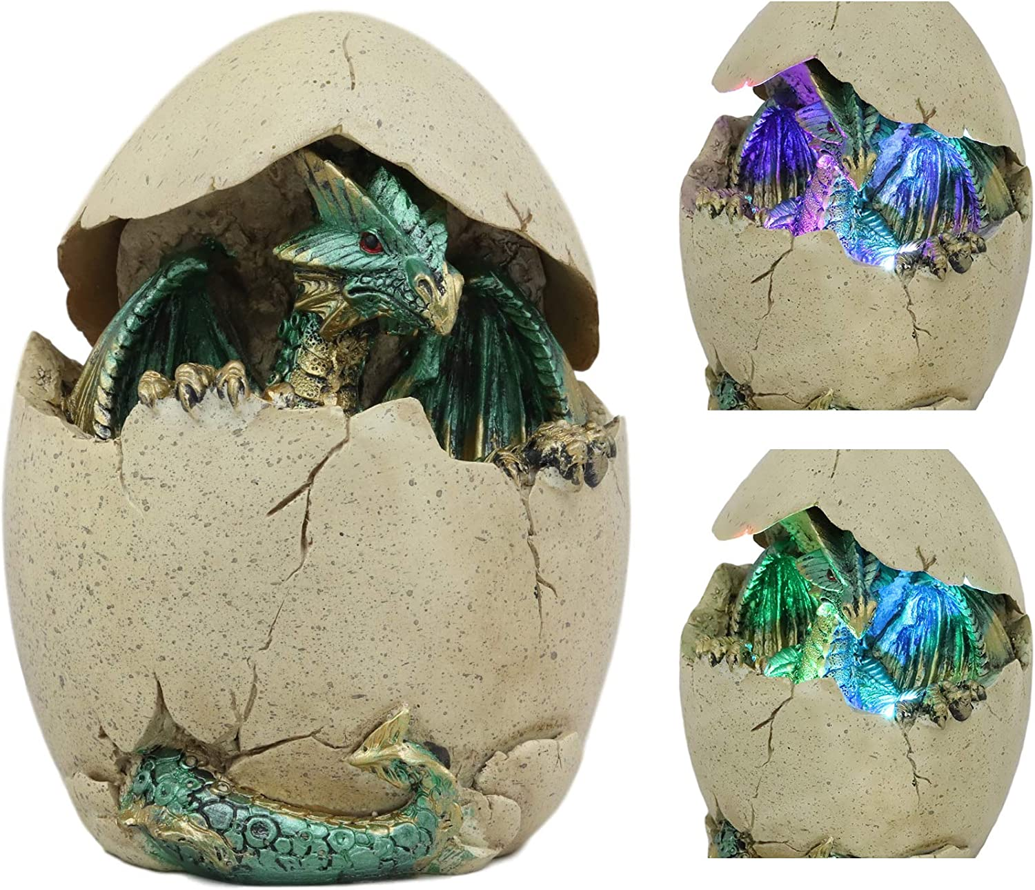 Ebros Emerging Dragon Egg Hatchling with Color Changing LED Night Light Figurine Dragonling Wyrmling Dungeons and Dragons Decor Statues and Figurines Renaissance Medieval Fantasy Creature