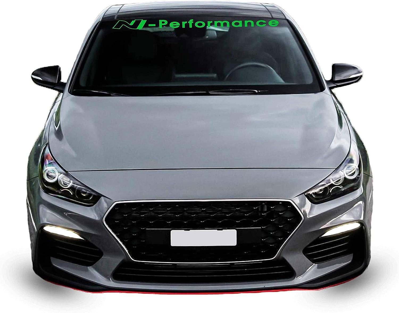G010 N Performance Frontscheibenaufkleber 120 Cm X 12 Cm Scheibendekor Frontscheibe Deca Styling Kleber Scheibe Gelbgrün Auto
