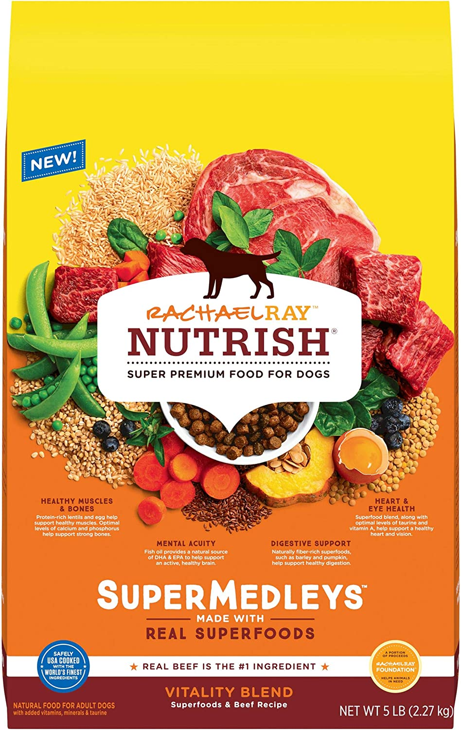 Rachael Ray Nutrish SuperMedleys Vitality Blend Premium Dry Dog Food, Beef, Salmon & Superfoods Recipe, 5 Pounds
