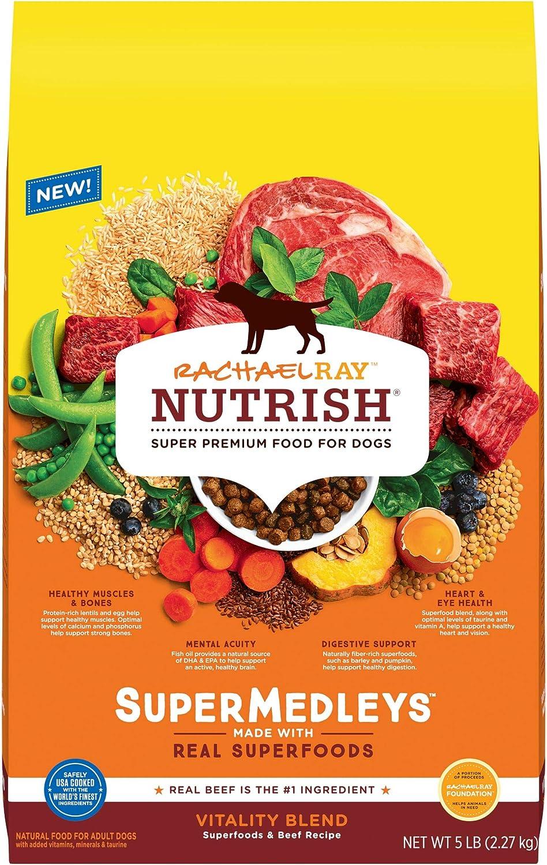 Rachael Ray Nutrish SuperMedleys Vitality Blend Premium Dry Dog Food, Beef, Salmon & Superfoods Recipe, 5 Pounds