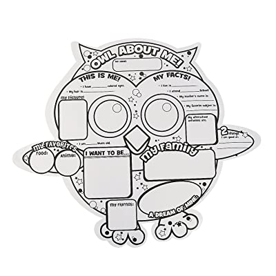 Fun Express Cyo Owl About Me Poster- 30 - 30 Pieces - Educational and Learning Activities for Kids: Toys & Games [5Bkhe0202187]