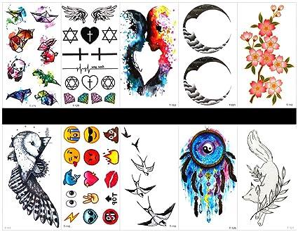tatuajes falsos en 1 paquete, incluyendo flores, pájaros, caras de dibujos animados,