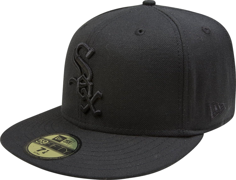 Amazon.com   MLB Chicago White Sox Black on Black 59FIFTY Fitted Cap ... fc4b5e6a6e2