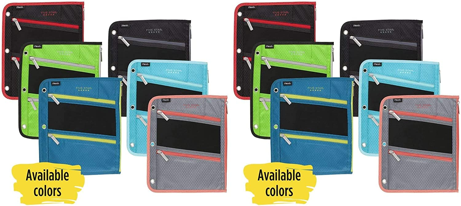1 Count -2 Pack Fits 3 Ring Binders Pen Holder Assorted Five Star Zipper Pouch Color Selected for You 50642 Pencil Pouch