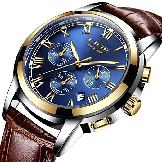 2c128038c Blue Face Fashion Casual Mens Watch with Leather Watch Band,Chronograph Men  Sports Watches Waterproof 30M Auto Date Analogue Quartz Watch:  Amazon.co.uk: ...