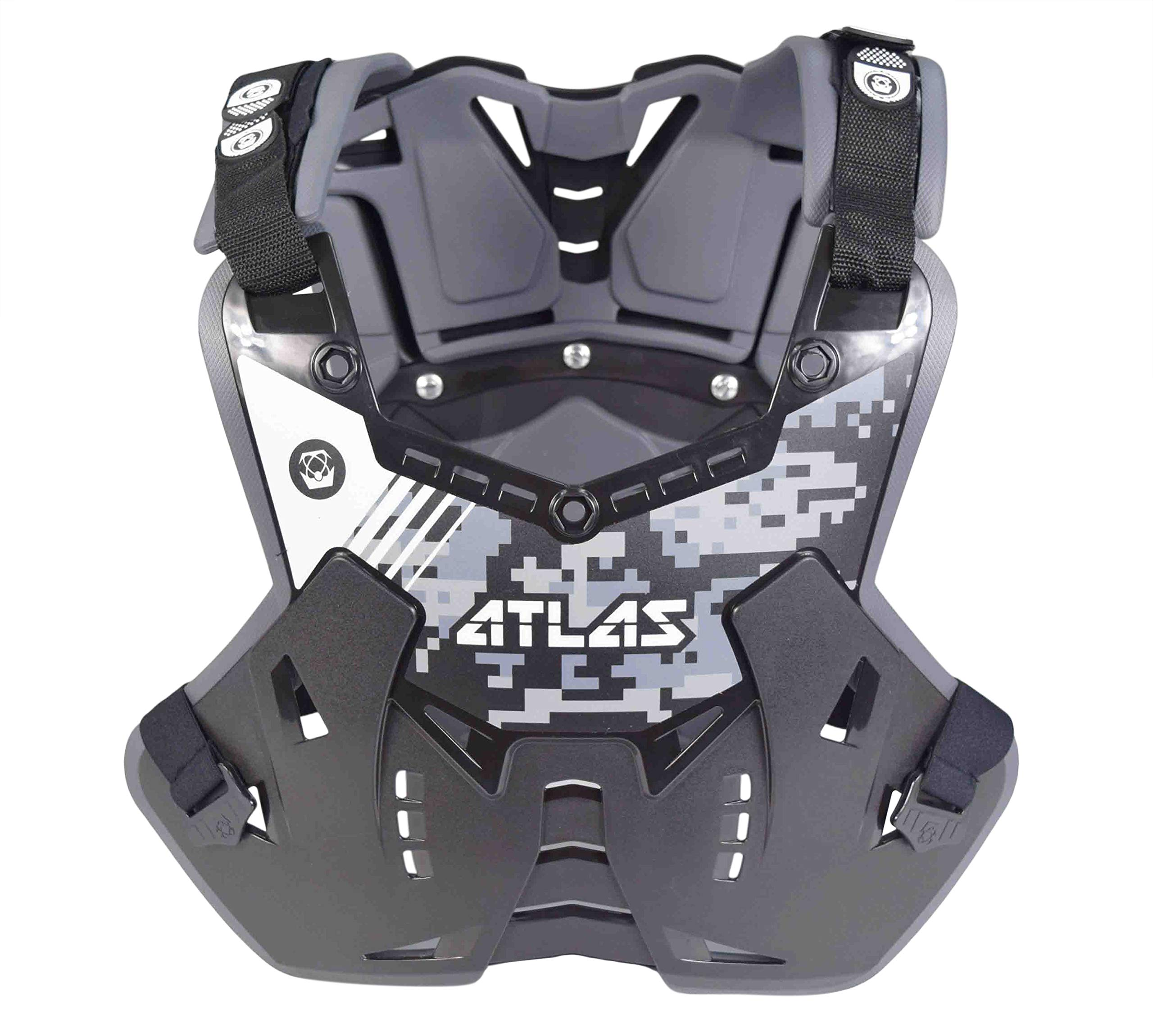 Atlas CPC-01-010 Defender Digital Stealth Chest and Back Protector Gray and Black Digital Camo - Adult Medium