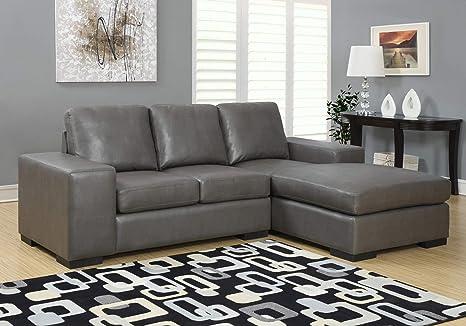 Amazon.com: HomeRoots Sofa Lounger - Charcoal Grey Bonded ...
