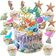 Sunshine smile Cake Topper de Sirena,Cupcake Topper Set,de Sirena Cupcakes decoración,Cupcake Toppers Picks,Torta de Fiesta de cumpleaños(Sirena 30 Piezas)