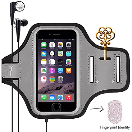 5ce1133f5 Sports Armband, Universal Outdoor Running Arm Band Workout Cell Phone Bag  with Key Holder/ Fingerprint Touch for Apple iPhone X/8/7/6S/6 Plus, ...