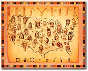 Pictorial Mid-Century Map Native American Indians Wall Art Poster Print Decor