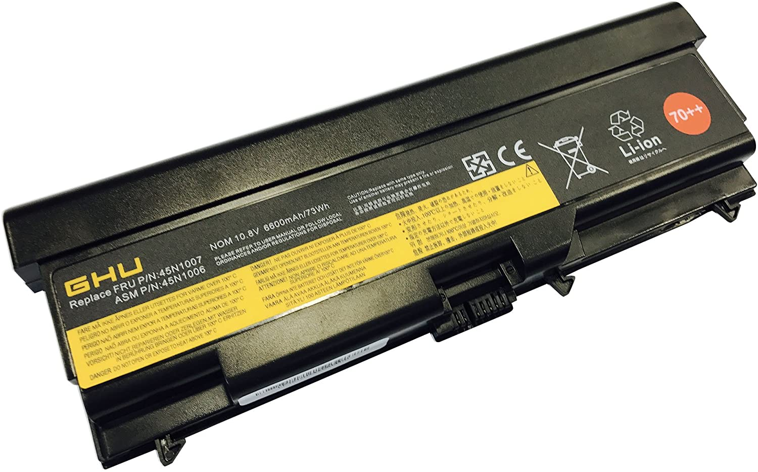 New GHU Battery 70++ 73 WH Replacement for 0A36303 0A36302 45N1001 45N1005 45N1007 Compatible with Lenovo ThinkPad 45N1011 45N1173 42T4753 51J0499 57Y4185 57Y4186 42T4791 42T4799 42T4911