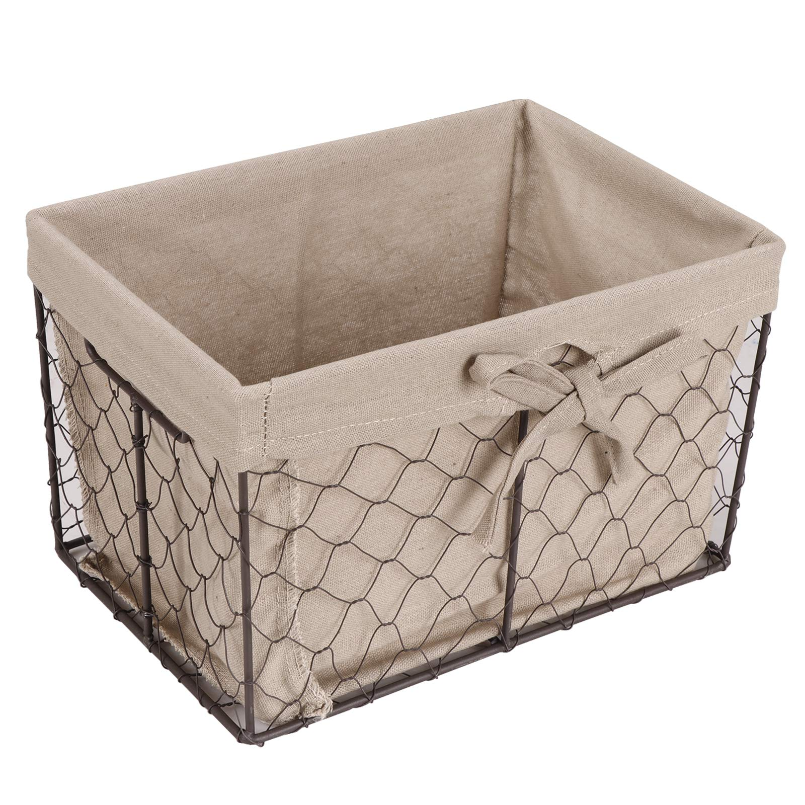 F2C Home Decor Set of 5 Vintage Toy Fruit Clothes Metal Chicken Wire Storage Basket Organizer W/Removable Fabric Liner for Bathroom Kitchen Office Nursery Laundry Bedroom Shelf by F2C (Image #5)