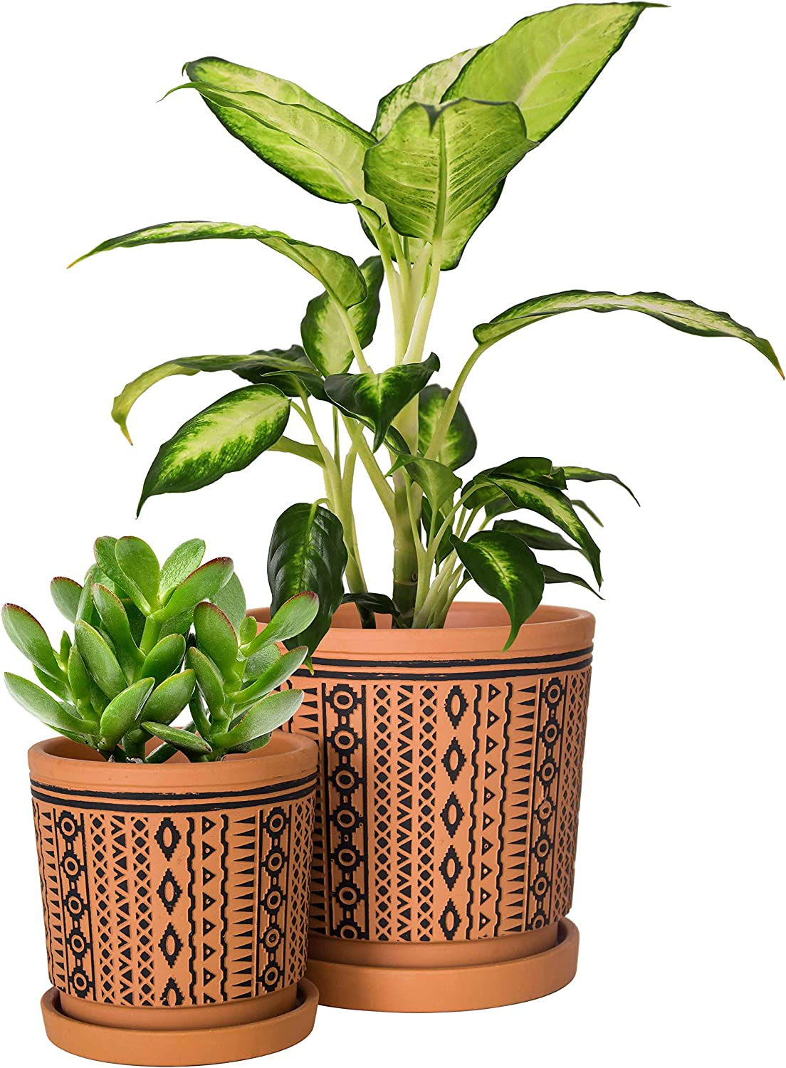 Set of 2, Terracotta Totem Design Planter Pot, 4 Inch and 6 Inch, Ceramic Plant Pot with Drainage Hole and Tray, Terracotta/Black