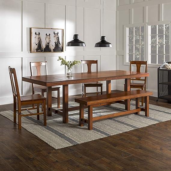 Amazon Com Walker Edison Furniture Rustic Farmhouse Rectangle Wood Dining Room Table Set With Leaf Extension Brown Oak Furniture Decor