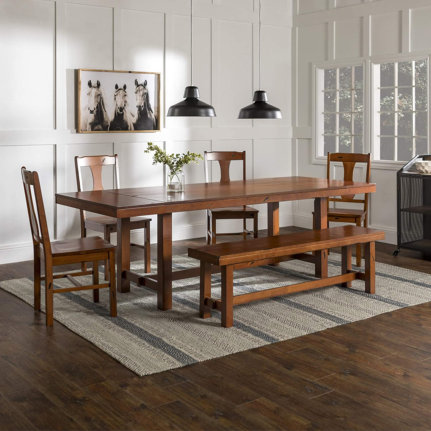 WE Furniture Rustic Farmhouse Rectangle Wood Dining Room Table Set with Leaf Extension, Brown Oak